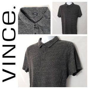 Vince Mens XL Gray Heathered Short Sleeve Polo